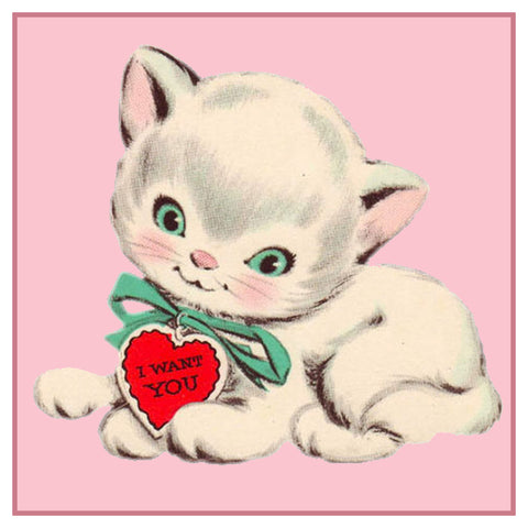 Valentine Kitten Cat Hearts Counted Cross Stitch Pattern