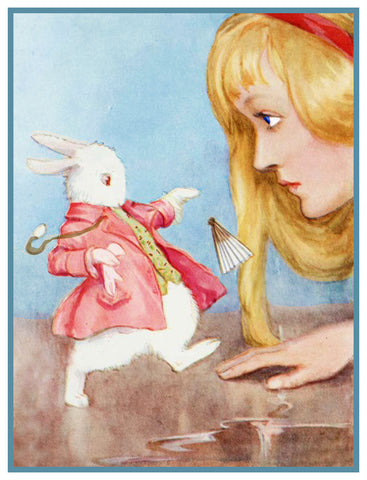 Alice and the White Rabbit from Alice's Adventures in Wonderland by Margaret Tarrant Counted Cross Stitch Pattern
