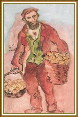 Man Going to Village Market by Russian Artist  Issachar Ber Ryback's Counted Cross Stitch or Counted Needlepoint Pattern