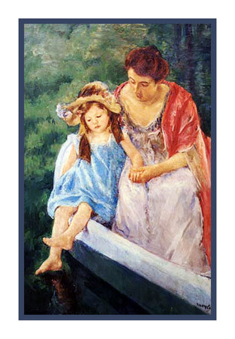 Mother Daughter Boating by American impressionist artist Mary Cassatt Counted Cross Stitch Pattern