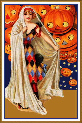 Fortune Teller and Pumpkins Halloween Counted Cross Stitch or Counted Needlepoint Pattern