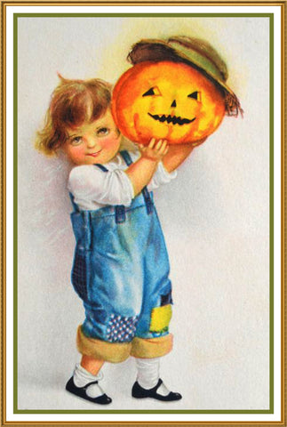 Boy in Overalls with Pumpkin Halloween Counted Cross Stitch or Counted Needlepoint Pattern