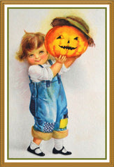 Boy in Overalls with Pumpkin Halloween Counted Cross Stitch or Counted Needlepoint Pattern - Orenco Originals LLC