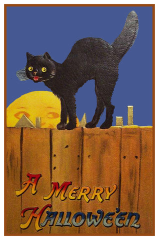 Black Cat on a Fence Full Moon Halloween Counted Cross Stitch or Counted Needlepoint Pattern