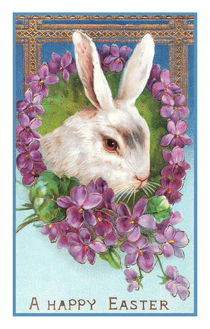 Vintage Easter Bunny with Violet Flowers Counted Cross Stitch Pattern
