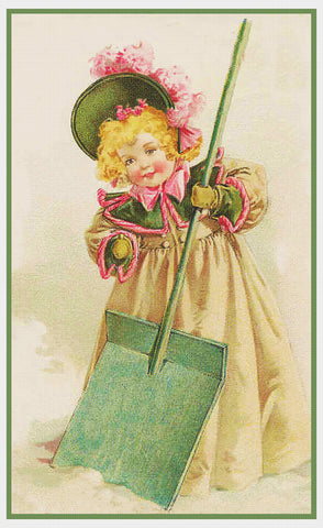 Young Girl Shoveling Snow by Maud Humphrey Bogart Counted Cross Stitch Pattern