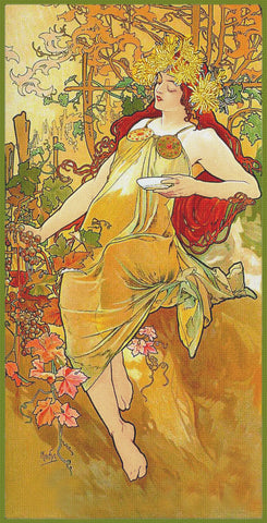 The Seasons Autumn by Alphonse Mucha Counted Cross Stitch Pattern DIGITAL DOWNLOAD