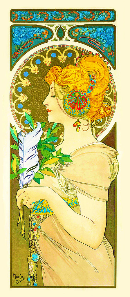 Feather by Alphonse Mucha Counted Cross Stitch or Counted Needlepoint Pattern