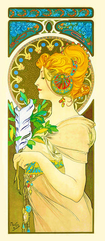 Feather by Alphonse Mucha Counted Cross Stitch Pattern