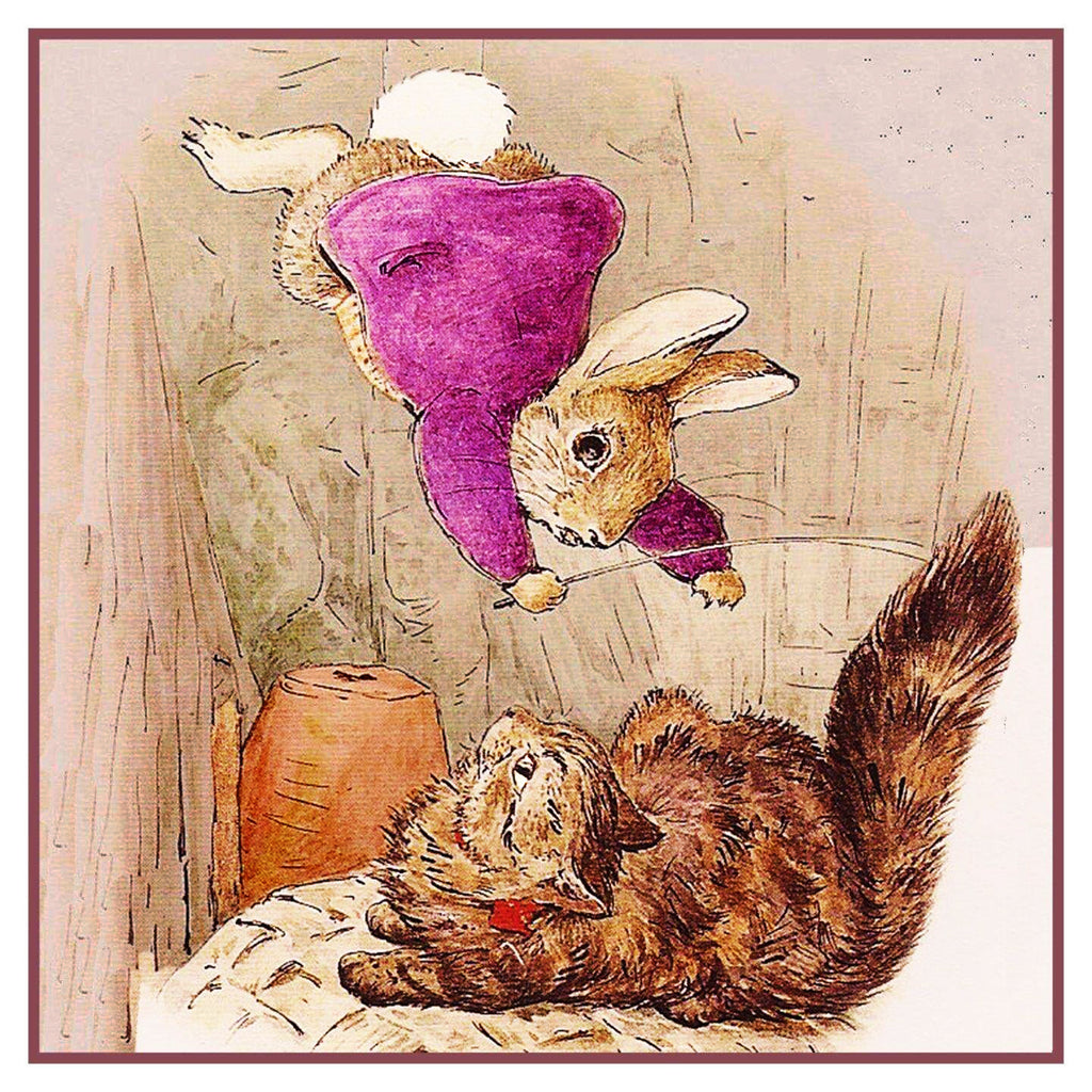 Ben Rabbit Lands on a Cat Inspired by Beatrix Potter Counted Cross Stitch or Counted Needlepoint Pattern - Orenco Originals LLC