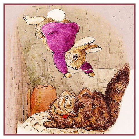Ben Rabbit Lands on a Cat Inspired by Beatrix Potter Counted Cross Stitch or Counted Needlepoint Pattern