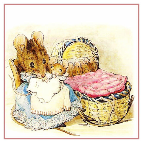 Hunca Munca and Her Babies Inspired by Beatrix Potter Counted Cross Stitch Pattern DIGITAL DOWNLOAD
