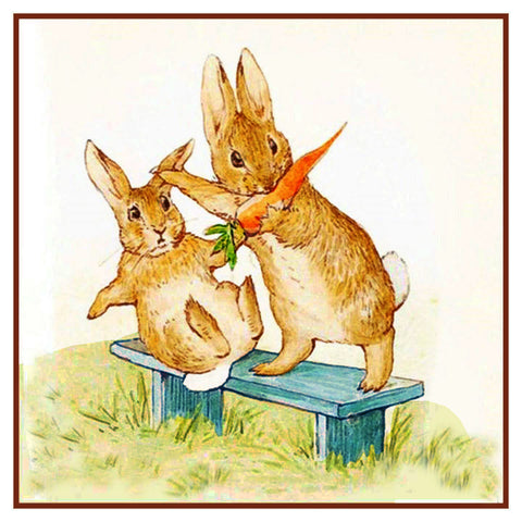 Fierce Rabbit and Friend Eat Carrots inspired by Beatrix Potter Counted Cross Stitch Pattern