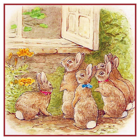 Beatrix Potter Rabbit Family at Garden Counted Cross Stitch Chart Pattern