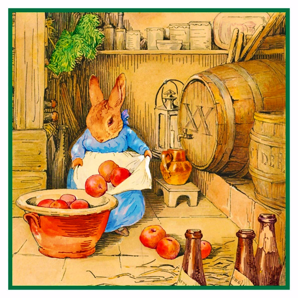 Bunny Rabbit Cicely Makes Cider inspired by Beatrix Potter Counted Cross Stitch  Pattern - Orenco Originals LLC