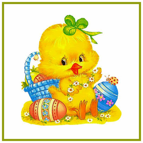 Contemporary Baby Chick Green Bow and Decorated Easter Eggs Counted Cross Stitch or Counted Needlepoint Pattern