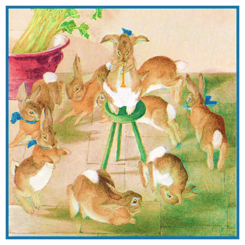 Dancing Bunny Rabbits Christmas Party inspired by Beatrix Potter Counted Cross Stitch Pattern