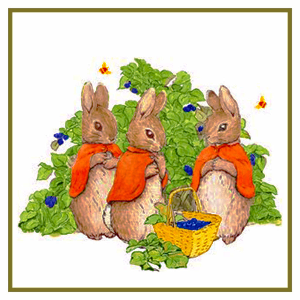 Bunny Rabbits Pick Berries inspired by Beatrix Potter Counted Cross Stitch  Pattern - Orenco Originals LLC