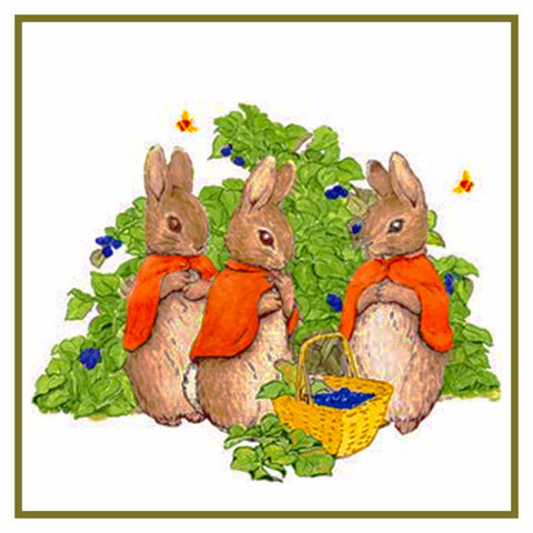 Bunny Rabbits Pick Berries inspired by Beatrix Potter Counted Cross Stitch Pattern