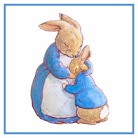 Mama Bunny Hugs Peter Rabbit inspired by Beatrix Potter Counted Cross Stitch or Counted Needlepoint Pattern