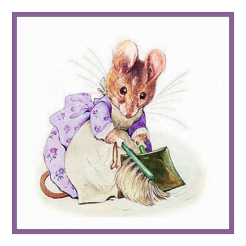 Hunca Munca Mouse inspired by Beatrix Potter Counted Cross Stitch Pattern