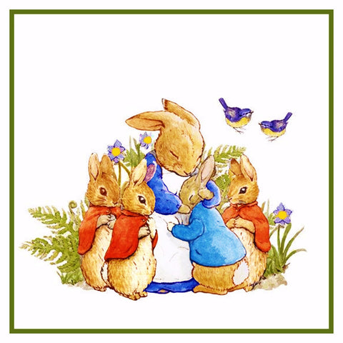 Peter Rabbit's Family in the Garden inspired by Beatrix Potter Counted Cross Stitch Pattern