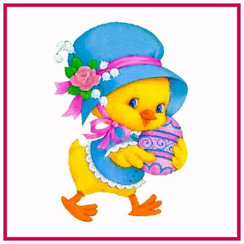 Contemporary Baby Duck with Blue Hat and Decorated Easter Egg Counted Cross Stitch or Counted Needlepoint Pattern