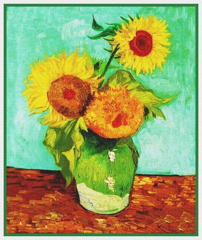3 Sunflowers by Impressionist Artist Vincent Van Gogh Counted Cross Stitch Pattern