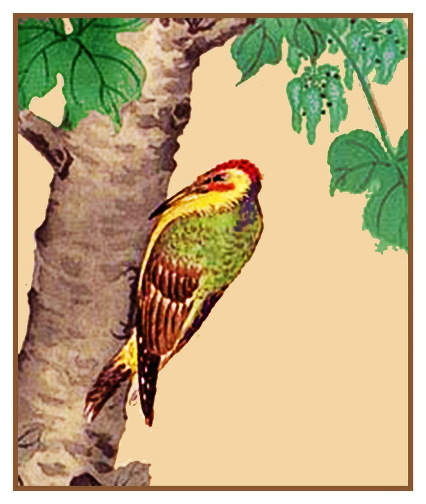 Japanese Artist Ohara Shoson's Bird Woodpecker On a Tree  Counted Cross Stitch Pattern