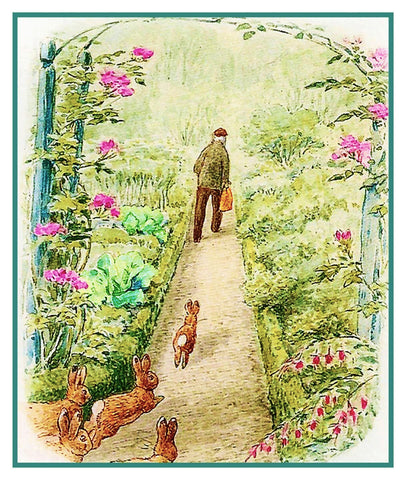 Peter Follows Farmer McGregor in Garden inspired by Beatrix Potter Counted Cross Stitch or Counted Needlepoint Pattern