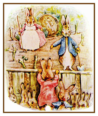 Peter Rabbit's Family Work in Garden inspired by Beatrix Potter Counted Cross Stitch Pattern