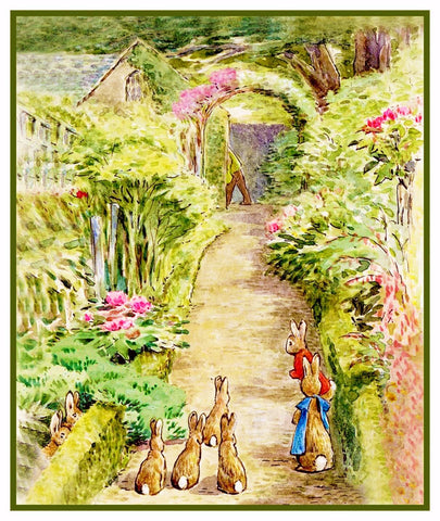 Bunnies in Farmer McGregor's Garden inspired by Beatrix Potter Counted Cross Stitch or Counted Needlepoint Pattern