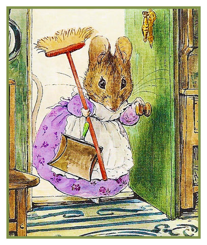 Hunca Munca Mouse Cleaning inspired by Beatrix Potter Counted Cross Stitch Pattern