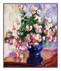 Chrysanthemums in a Vase inspired by Claude Monet's impressionist painting Counted Cross Stitch or Counted Needlepoint Pattern
