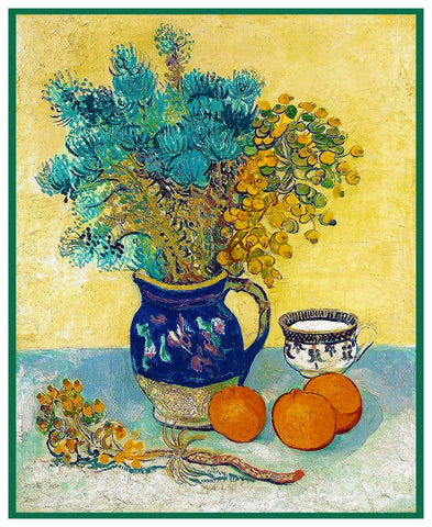 Still Life Dried Flowers by Impressionist Artist Vincent Van Gogh Counted Cross Stitch Pattern