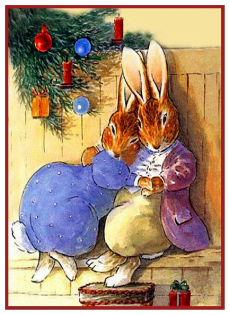 A Bunny Christmas Kiss by Beatrix Potter Counted Cross Stitch Pattern