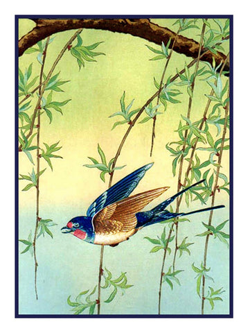 Japanese Artist Ohara Shoson's Blue Bird in Willow Tree Counted Cross Stitch Pattern