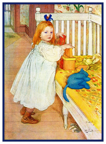 Girl Playing by Swedish Artist Carl Larsson Counted Cross Stitch Pattern