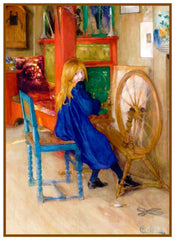 Girl At a Spinning Wheel by Swedish Artist Carl Larsson Counted Cross Stitch Pattern DIGITAL DOWNLOAD