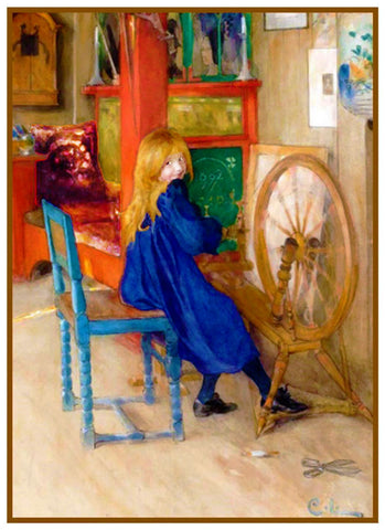 Girl At a Spinning Wheel by Swedish Artist Carl Larsson Counted Cross Stitch or Counted Needlepoint Pattern