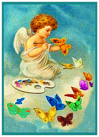 Vintage Easter Cherub Angel Painting Butterflies Counted Cross Stitch Pattern