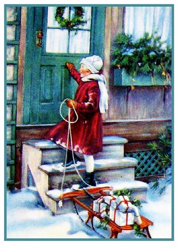 Christmas Scene# 702 Girl Delivers Presents Sled Counted Cross Stitch Pattern DIGITAL DOWNLOAD