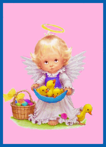 Contemporary Angel with Baby Ducks Easter Basket Counted Cross Stitch Pattern