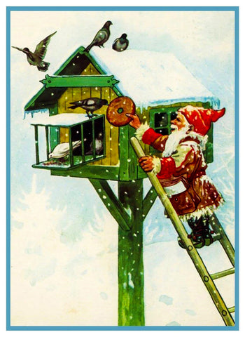 Elf Gnome Feeding Birds House Jenny Nystrom Holiday Christmas Counted Cross Stitch or Counted Needlepoint Pattern