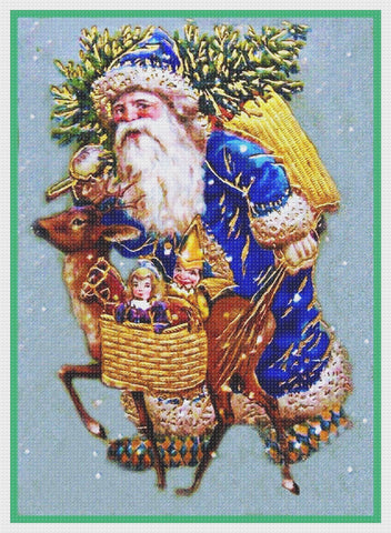 French Father Christmas Santa Claus Counted Cross Stitch Pattern DIGITAL DOWNLOAD
