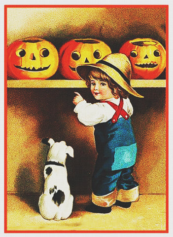 Victorian Halloween Boy Dog and 3 Pumpkins Counted Cross Stitch Pattern DIGITAL DOWNLOAD