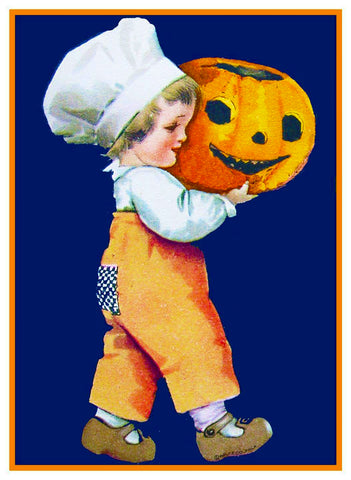 Halloween  Cute Little Boy with Carved Pumpkin Counted Cross Stitch or Counted Needlepoint Pattern