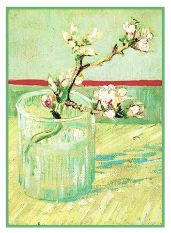 Vase with Almond Branches inspired by Impressionist Vincent Van Gogh's Painting Counted Cross Stitch Pattern