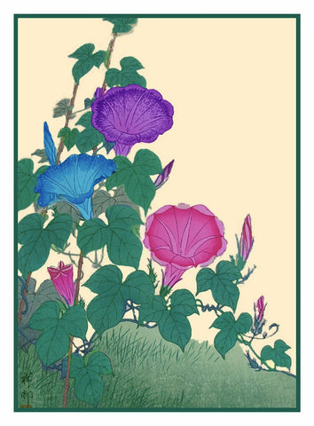Japanese Artist Ohara Shoson's Morning Glory Flower Blossoms  Counted Cross Stitch Pattern