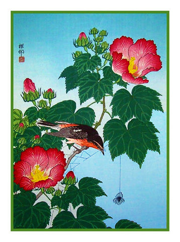 Japanese Artist Ohara Shoson's Mallow Flower and Flycatcher Bird  Counted Cross Stitch Pattern
